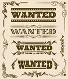 Vintage wanted dead or alive western poster vector frame ornament elements. Set of wanted text, illustration of wanted dead or alive poster Royalty Free Stock Images