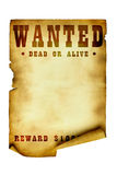 Vintage wanted poster. Isolated over white background stock photography
