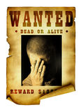 Vintage wanted poster. Isolated over white background Stock Images