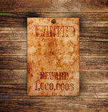 Vintage wanted poster. On a wooden wall stock photos
