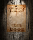 Vintage wanted poster. On a wooden wall stock photo
