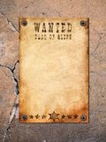 Vintage wanted poster. Antique page - wanted dead or alive. vintage wanted poster stock image