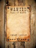 Vintage wanted poster. Antique page - wanted dead or alive. vintage wanted poster stock images
