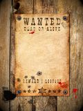Vintage wanted poster. Antique page - wanted dead or alive. vintage wanted poster Royalty Free Stock Photos