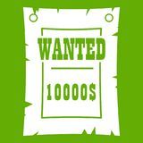 Vintage wanted poster icon green Stock Photos