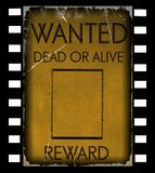 Vintage wanted poster template. On film strip background royalty free stock images
