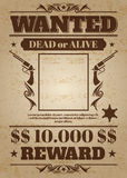 Vintage wanted western poster with blank space for criminal photo. Vector mockup Royalty Free Stock Images
