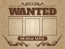 Vintage wanted western poster with blank space for criminal photo. S - wanted template design. Vector illustration Royalty Free Stock Photography