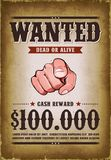 Vintage Wanted Western Poster Royalty Free Stock Photography