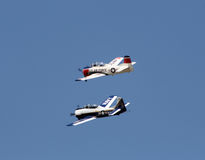 Vintage war birds. Two vintage war birds flying in formation Royalty Free Stock Image