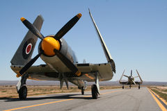 Vintage war planes. Two vintage war planes lined up on runway with wings folded up royalty free stock photos