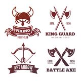 Vintage warrior emblems. Viking, knight, king medieval labels. Colorful vintage warrior emblems. Viking, knight, king medieval labels. Vector illustration Royalty Free Stock Images