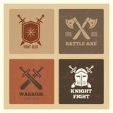 Vintage warrior sword and shield labels. Of set grunge effect. Vector illustration Royalty Free Stock Photography