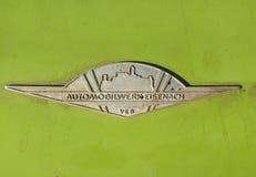 Vintage Wartburg retro car emblem from Eisenach East Germany Stock Images