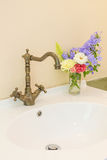 Vintage washbasin in bathroom Stock Photo