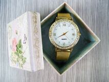 Vintage watch in box Stock Images
