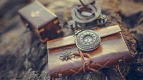 Vintage Watch On Brown Leather Texture. Old Pirate Collectible royalty free stock images