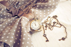 Vintage watch with casual dress Stock Photos