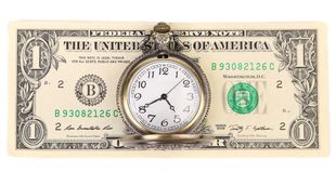 Vintage watch and dollars Royalty Free Stock Image