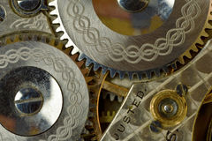 Vintage watch gears close op Stock Photos