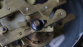 Vintage Watch Gears Movement Macro. Old vintage clock mechanism working, closeup shot with soft focus. Close up of a internal clock mechanism. Vintage Watch stock footage