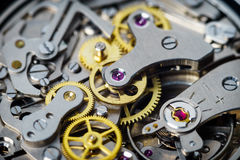 Vintage watch part details of chronograph movement. Old chronograph watch showing moving parts Stock Images