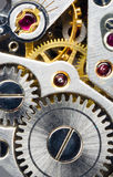 Vintage Watch Pocketwatch Time Piece Movement Gears Cogs. Extreme close up of the inside workings of a 17 jewels pocketwatch Stock Photos