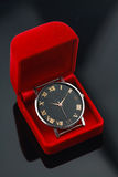 Vintage watch in red box, Gift set for someone in anniversary day Royalty Free Stock Photo