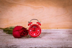 Vintage watch and red rose Royalty Free Stock Photography