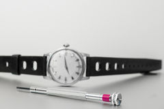 A vintage watch with screwdriver tool Royalty Free Stock Images