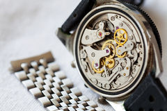 Vintage watch and stainless steel strap for adjustment Stock Photos