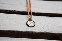 Vintage watch on a wooden background, text space Stock Photography