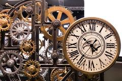 Vintage watch with wooden gears installation Royalty Free Stock Photography