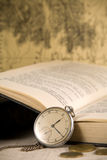 Vintage watches and book Royalty Free Stock Photo