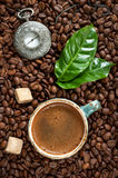 Vintage watches and a cup of espresso with cane sugar Stock Images