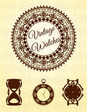 Vintage watches and frames set Royalty Free Stock Image