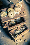 Vintage watchmaker's room with parts of clocks. Closeup of vintage watchmaker's room with parts of clocks royalty free stock image