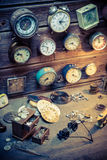 Vintage watchmaker's workshop with parts of clocks. Closeup of vintage watchmaker's workshop with parts of clocks stock image