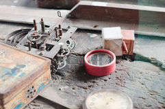 Vintage watchmakers tools stock photography