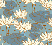 Vintage water lily seamless pattern. Classic chinese motif Stock Photos