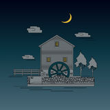 Vintage water mill. Old European style buildings. Vintage water mill. Vector illustration of flat style royalty free illustration