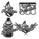 Vintage water purification emblems Stock Image