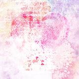 Vintage watercolor background. Pink texture. Grunge background with heart. Old texture Stock Image