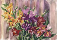 Vintage watercolor card with a pattern of a bouquet of flowers royalty free illustration