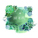 Vintage watercolor design with succulents Stock Image