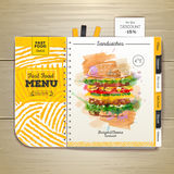 Vintage watercolor fast food menu. Sandwich sketch Royalty Free Stock Images