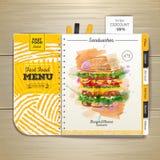 Vintage watercolor fast food menu. Sandwich sketch Royalty Free Stock Images