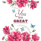 Vintage Watercolor Floral Card with Bouquet of Red Royalty Free Stock Images