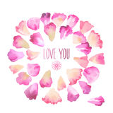 Vintage watercolor greeting card with floral petals. Love You with place for your text. Digital aquarelle illustration created with brushes Royalty Free Stock Image