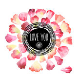 Vintage watercolor greeting card with floral petals. Love You with place for your text. Digital aquarelle illustration created with brushes Stock Photo